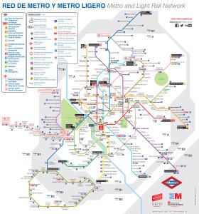 マドリードのメトロ最新路線図 (2015年7月現在)